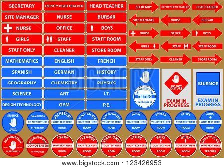 set of school environment signs/symbols (exam, staff, head teacher, secretary, nurse, room). flat vector illustration