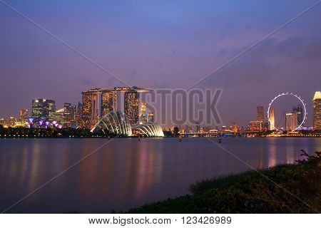 Singapore Skyline and view of Marina Bay ** Note: Visible grain at 100%, best at smaller sizes