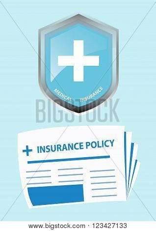 Medical Insurance Icon and Insurance Policy. Vector Illustration
