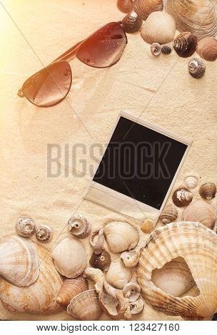 sea shells sundglasses and picture on a sand