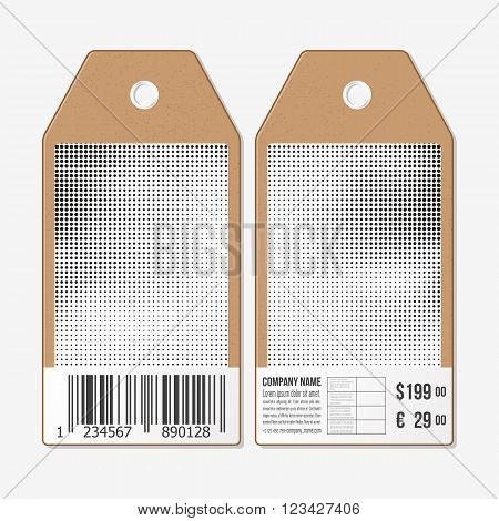 Vector tags design on both sides, cardboard sale labels with barcode. Halftone vector background. Abstract halftone effect with black dots on white background.