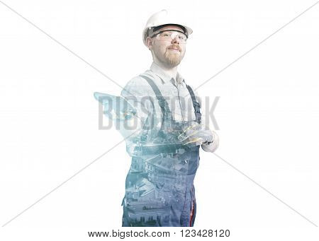 Double Exposure Portrait of Worker and City