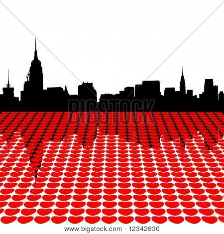 Midtown Manhattan skyline happy valentines day with hearts illustration