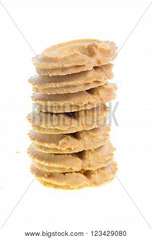 Classic Vanilla Cookies isolated on white background.