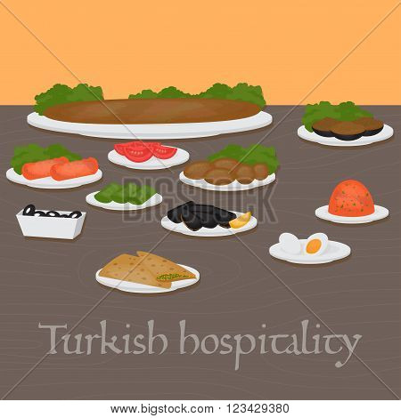 Turkish hospitality Middle East Food. Common main and side dishes desserts.Traditional food of Turkish cuisine.