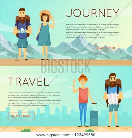 Man and woman together on a trip. World Travel. Planning summer vacations. Summer holiday. Tourism and vacation theme. Character design.Banners. Flat design vector illustration.