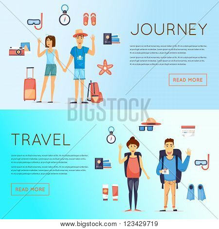 World Travel, summer vacation, tourism and journey, couple travels and set of icons. Flat design vector.