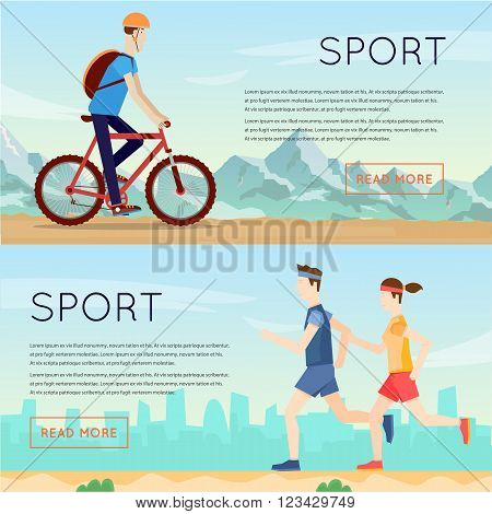 Guy rides on a mountain bike, couple of runs, sports, fitness, leisure, healthy lifestyle, mountains. Flat design vector illustrations.