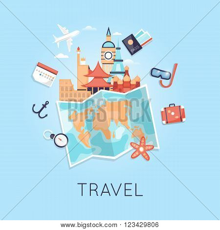 Travel Russia, USA, Japan, France, England, Italy. World Travel. Planning summer vacations. Summer holiday. Tourism and vacation theme. Flat design vector