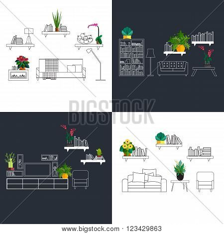 interior with flowers decoration in hall of modern house. Homeplant in modern interior set. Design of flowers in home interior. Plant design in outline room. Home plant interior sketch
