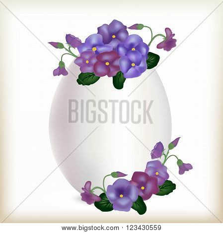 White natural egg, illustration of an easter gift with flowers, healthy food, the isolated food product, raw materials of a poultry farm, flower design, vertical egg with violets,