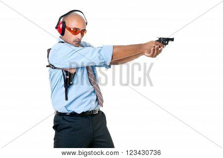 Man with gun isolated in white background