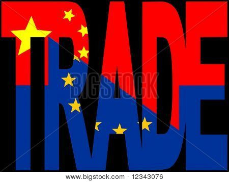Trade text with EU and Chinese flags illustration JPEG