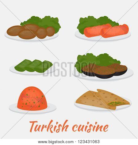 Middle East Food. Common main and side dishes,  dolma, kisir,  patlican, gozleme and kofte. Turkish lentil salad, cutlet,  bread, stuffed eggplant andgrape leaves. Traditional food of Turkish cuisine.