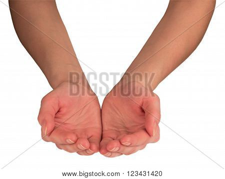 woman's hands palms up position isolated at white background