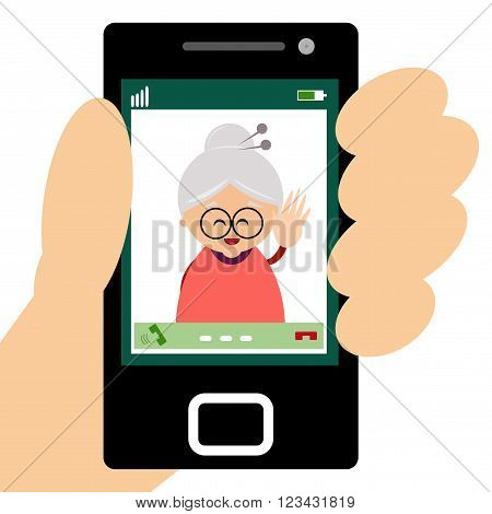 Illustration of grandmother making a video call on smartphone.