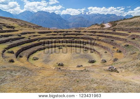 Moray - Ruins Of Incan Agricultural Terraces Near Maras,  Peru