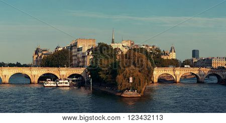 River Seine and historical architecture in ile de la cite in Paris, France.