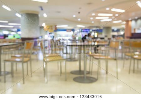 Blurred Image Of Food Court In Mall