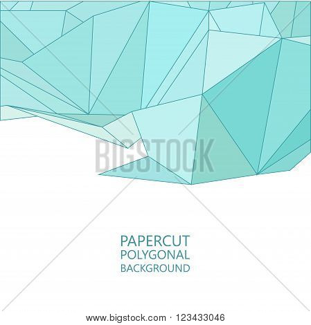Vector abstract papercut background, flat triangle design in blue colors