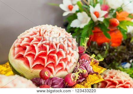 fresh carved mix fruits. mixed of thai fruits.