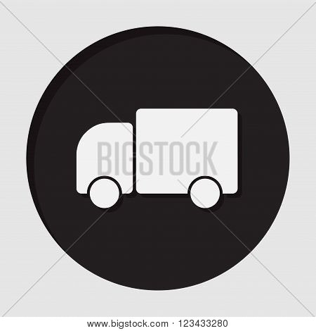 information icon - dark circle with white lorry car and shadow