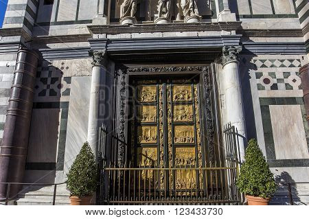FLORENCE, ITALY, OCTOBER 24, 2015 : doors and architectural details of Baptistery of saint John, october 24, 2015 in Florence, Italy