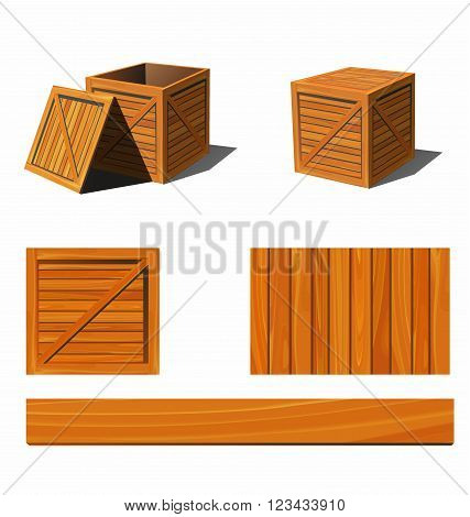Photorealistic wooden box and textures. 3d vector illustration.