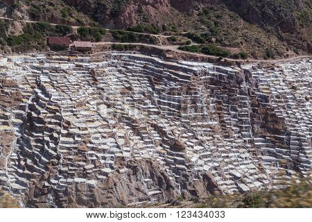 Salt Evaporation Ponds And Mines Built By Incas In Maras,  Peru