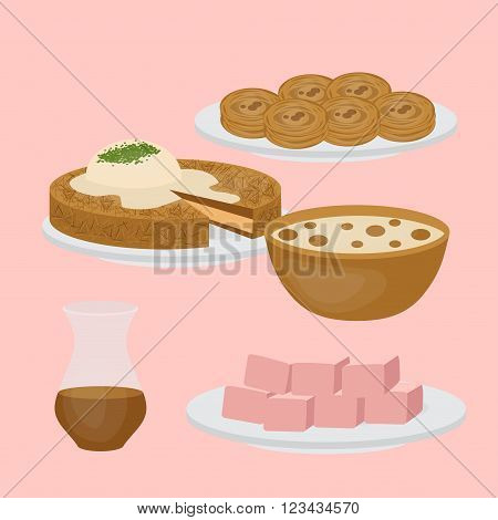 Middle East Food. Common main and side dishes desserts bread and drinks.Traditional food and beverages of Turkish cuisine.