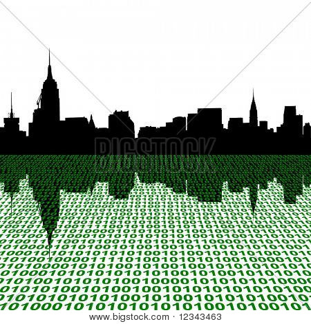 Midtown Manhattan skyline with binary perspective foreground