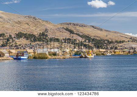 Uros Floating Island And Village On Lake Titicaca Near Puno,  Peru