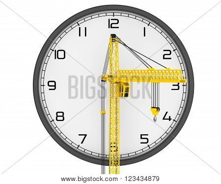 Time Building Concept. Hoisting Crane with Modern Clock on a white background. 3d Rendering