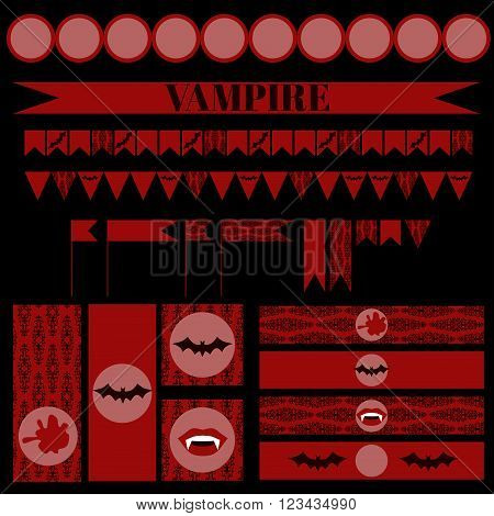 Printable set of vintage Vampire party elements. Templates, labels, icons and wraps