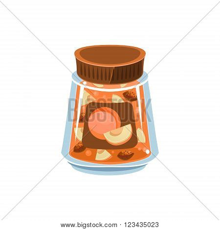 Apricot Jam In Transparent Jar Isolated Flat Vector Icon On White Backgroung In Simplified Manner