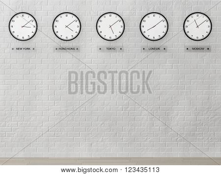 Time Zone Clocks showing different time in front of brick wall. 3d Rendering