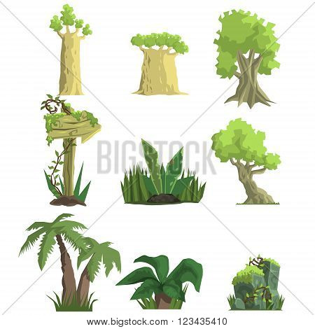 Tropical Forest Landscape Elements Realistic Flat Vector Illustration Set For Video Game On White Background