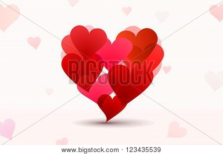 Valentines composition of the hearts. Vector background illustration.
