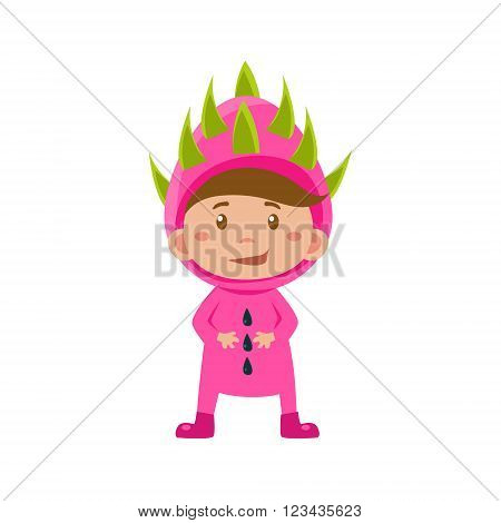 Cute Kid In Lychee Costume. Vector Illustration