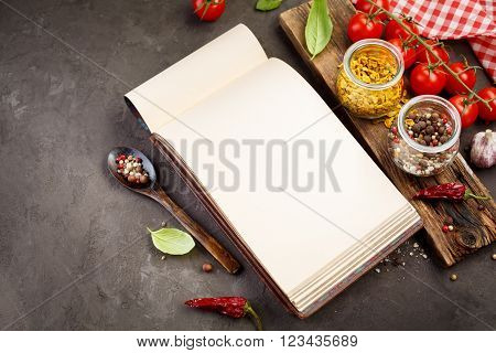Spice for cooking and Blank recipe book. Food background with copy-space, top view