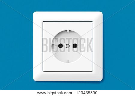 Power Electric Socket on a blue wallpaper wall. 3d Rendering