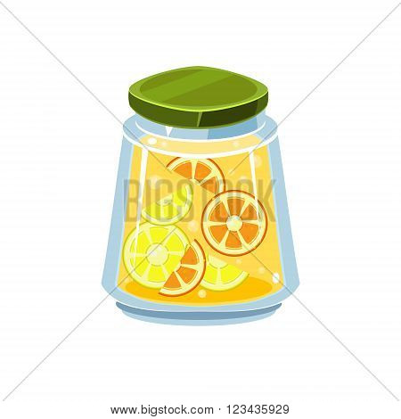 Leman Jam  In Transparent Jar Isolated Flat Vector Icon On White Backgroung In Simplified Manner