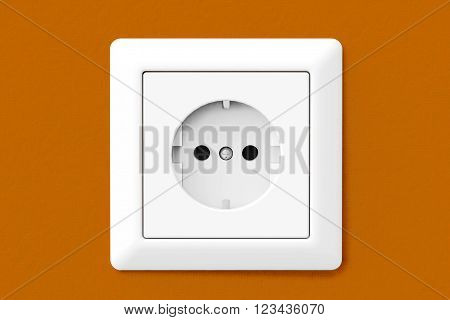 Power Electric Socket on a orange wallpaper wall. 3d Rendering