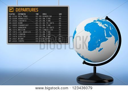 World Travel Concept. Airport Departures Board with Earth Globe on a blue background. 3d Rendering