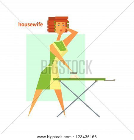 Houswife Ironing Abstract Figure Flat Vector Illustration With Text