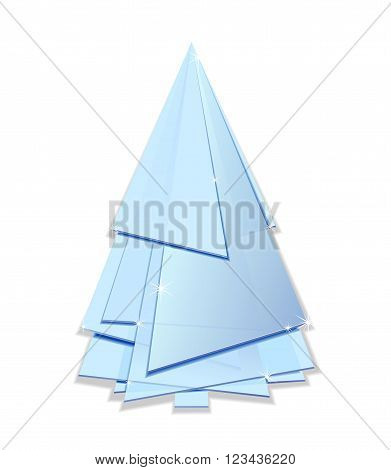 Abstract Christmas tree. Vector illustration isolated on white background.