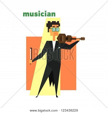 Musician Playing Violin Abstract Figure Flat Vector Illustration With Text