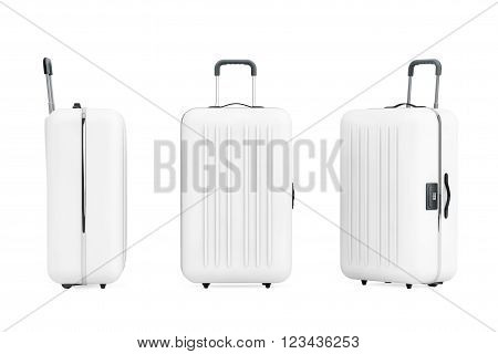 Large White Polycarbonate Suitcases on a white background. 3d Rendering