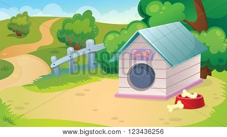 Vector cartoon game background of country landscape with doghouse and road