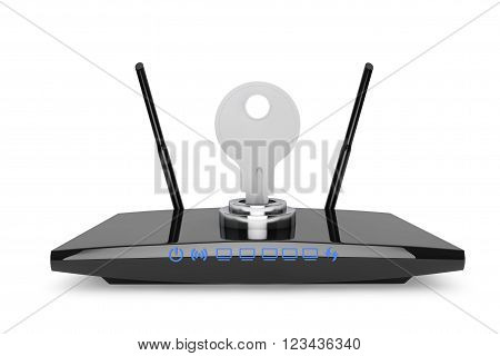 Wifi Security Concept. 3d Modern WiFi Router on a white background. 3d Rendering